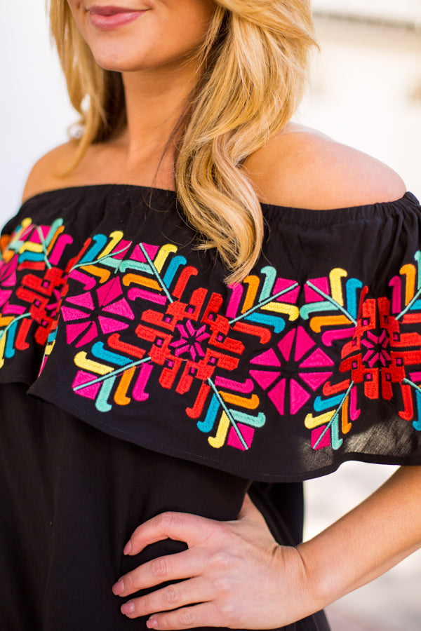 The Mckenna Off The Shoulder Top- Black