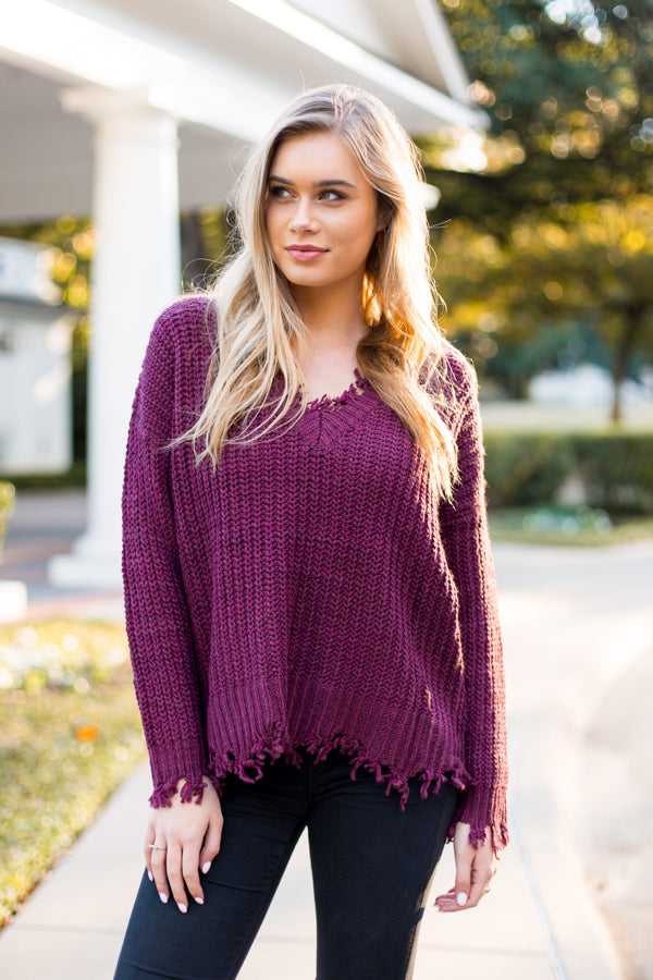 Rough Around The Edges Sweater- Wine