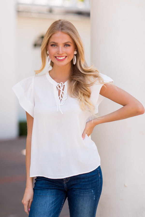Statement Sleeve Top- White