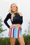 Carnival Craze Striped Skort- Sage
