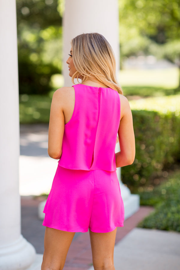 In A Barbie World Romper- Neon Pink
