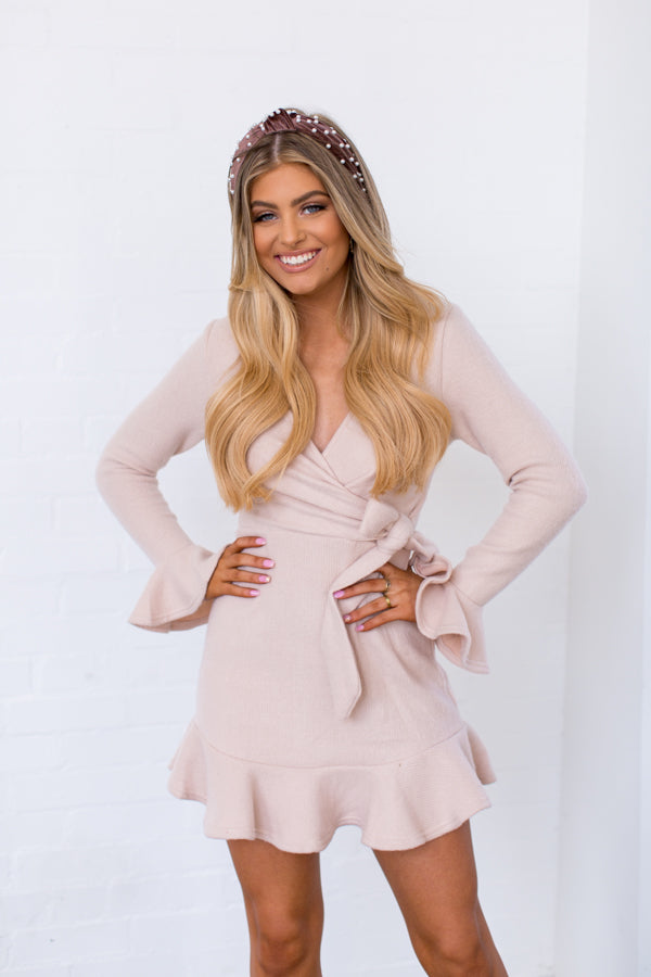 Get A Clue Dress - Beige