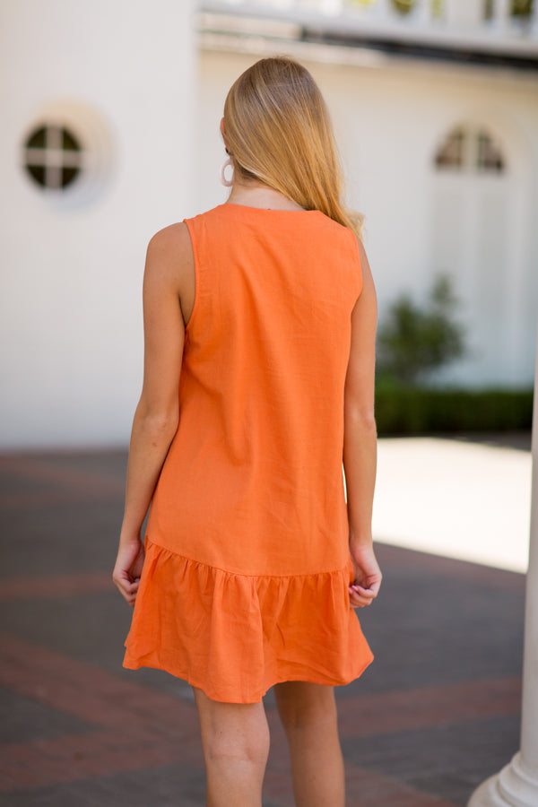 Button Down Babydoll Dress- Orange