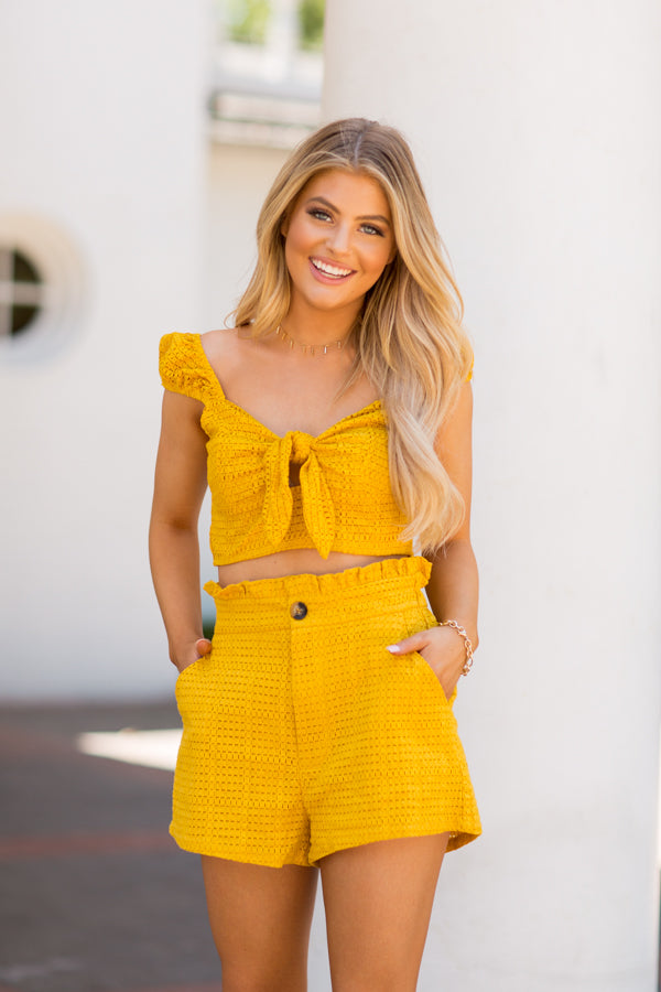 Sweet Like Summertime Crop Top- Mustard