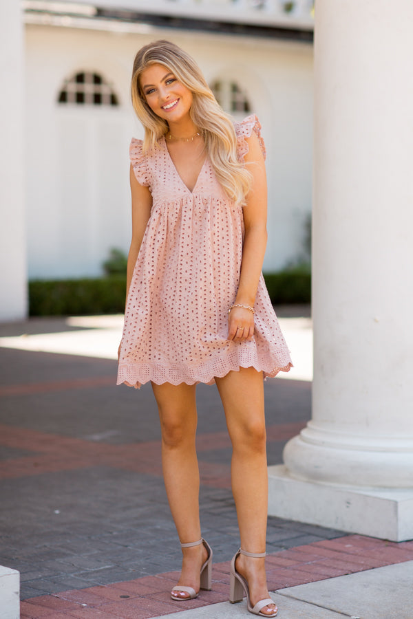 So Sweet Babydoll Romper- Taupe