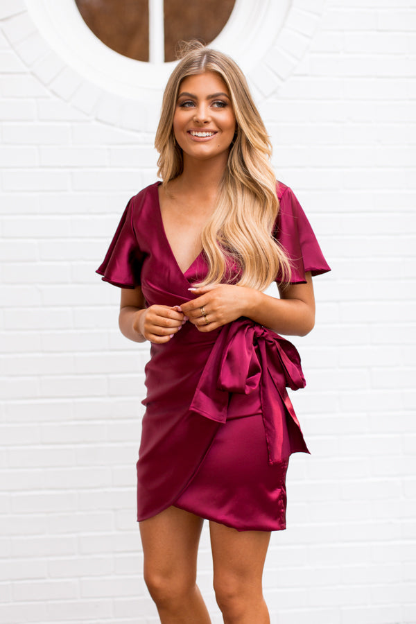 Christmas Wishes Dress - Wine
