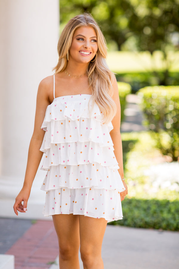 Tea Party Dress- White Polka