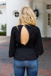 Take A Side Tie Top- Black
