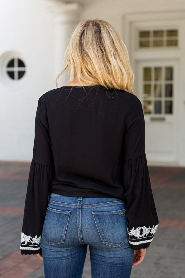 Embroidered Cozumel Top- Black