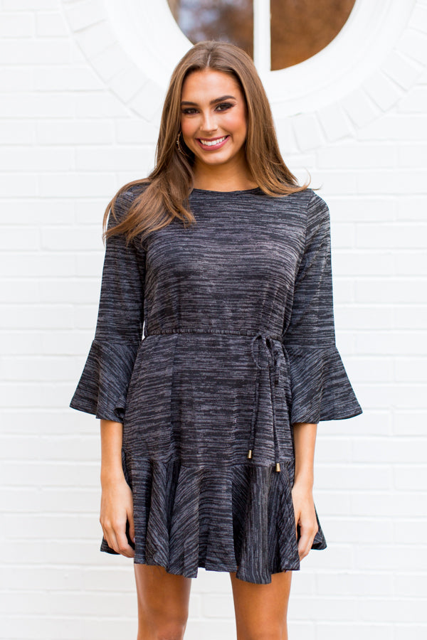 Dust Your Shoulders Off Dress - Heathered Black