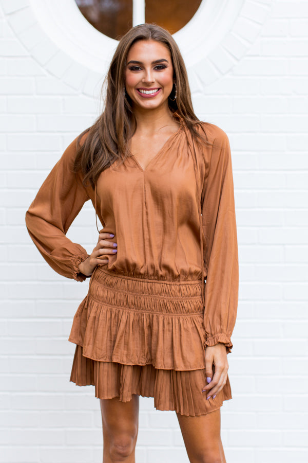 Holiday In The City Dress - Caramel