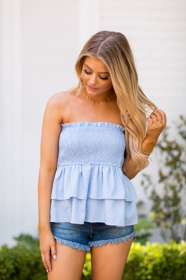 Sea Cinched Top- Blue