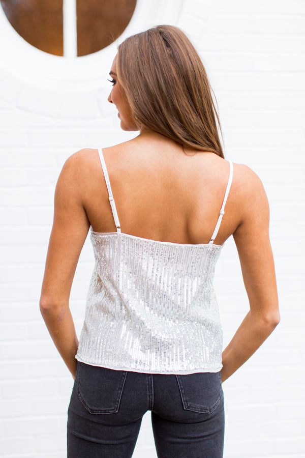 Wow Factor Sequin Top - Silver