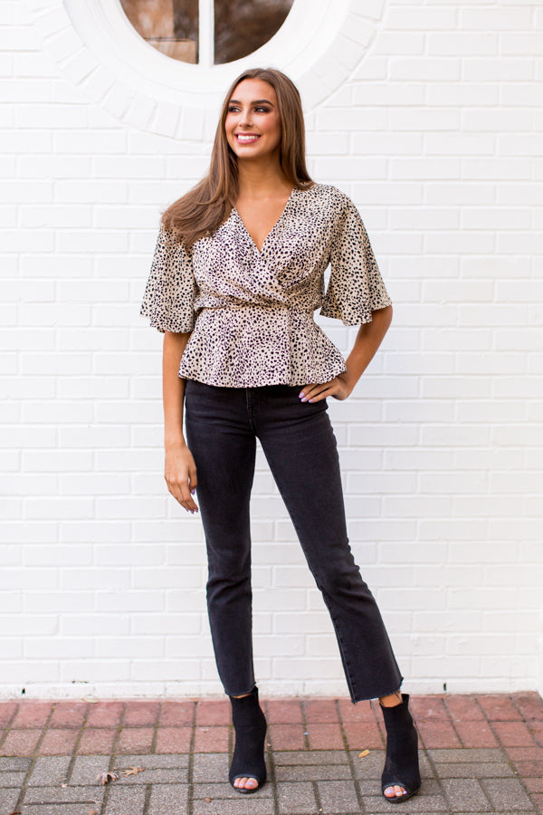 Hot Spot Top - Taupe