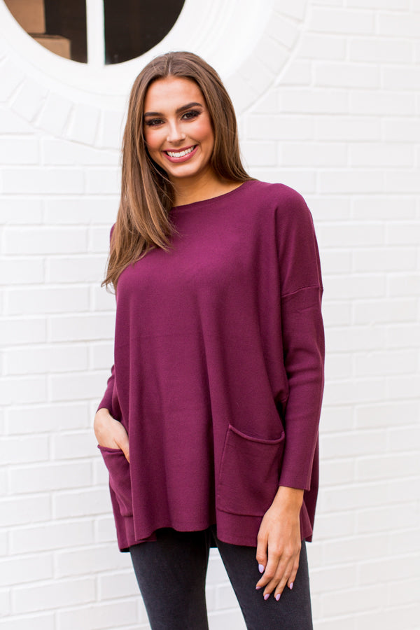 Pocket Full Of Sunshine Sweater - Plum