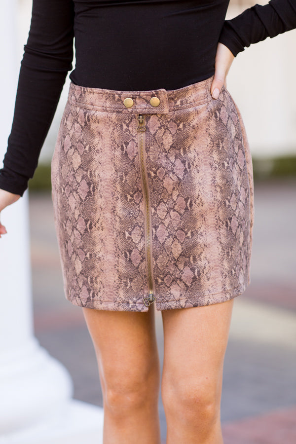 Slither In Suede Skirt - Mocha