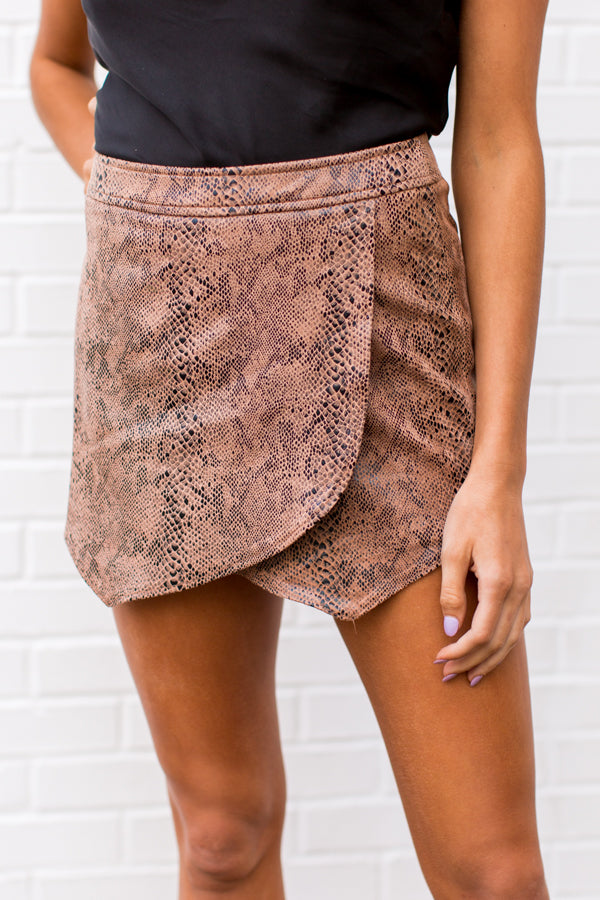 Snake Or Break Skort - Tan
