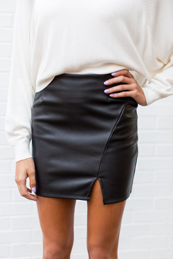 Step Aside Leather Skirt - Black