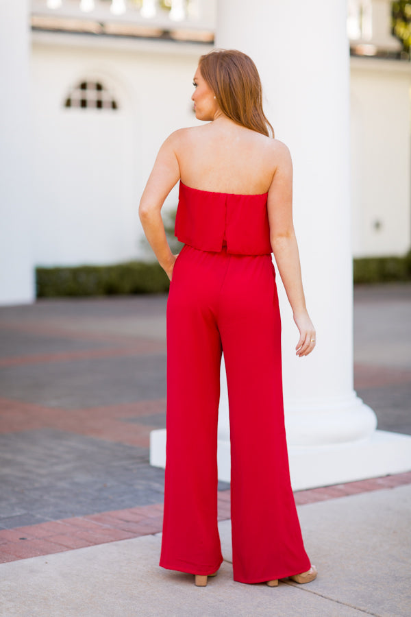 Suit Up Jumpsuit - Red