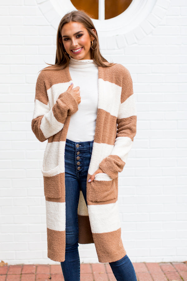 Soft & Sweet Cardigan - Tan Stripe