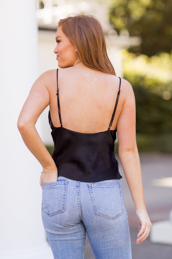 On The Cowl Tank Top - Black