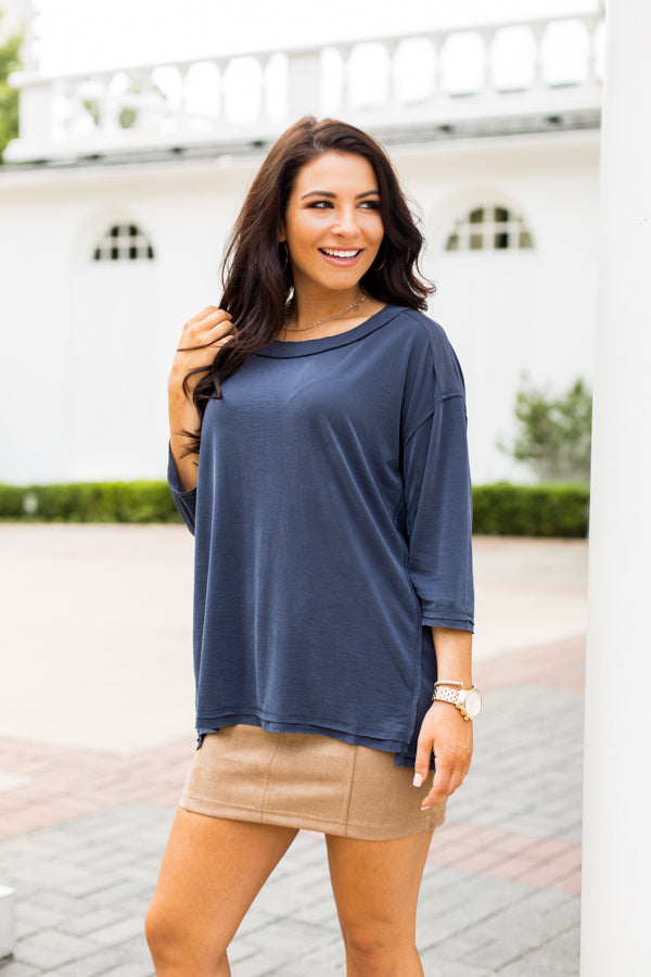 Take It Easy Top- Navy