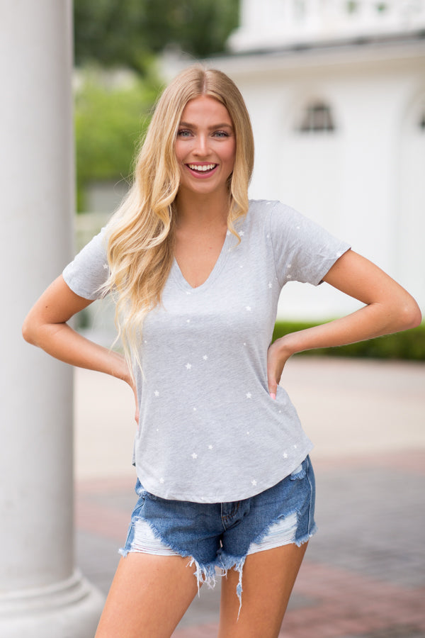 Starry Nights Tee- Heather Grey