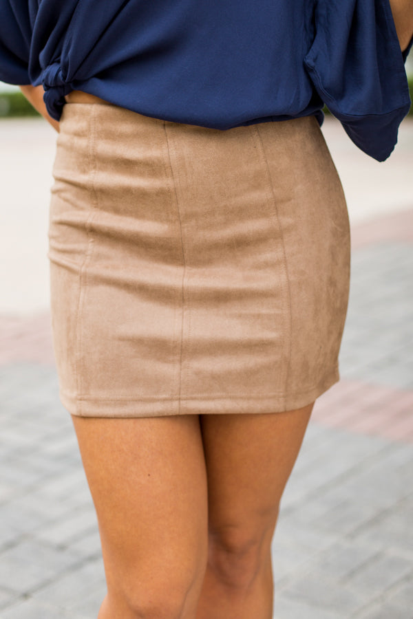 Stay Neutral Suede Skirt- Tan