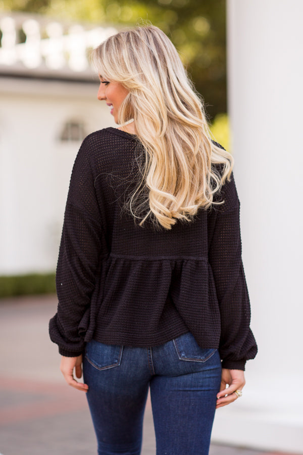 Cozy Mornings Knit Top - Black