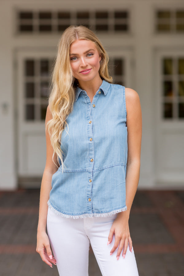 Day To Day Denim Top- Light Wash