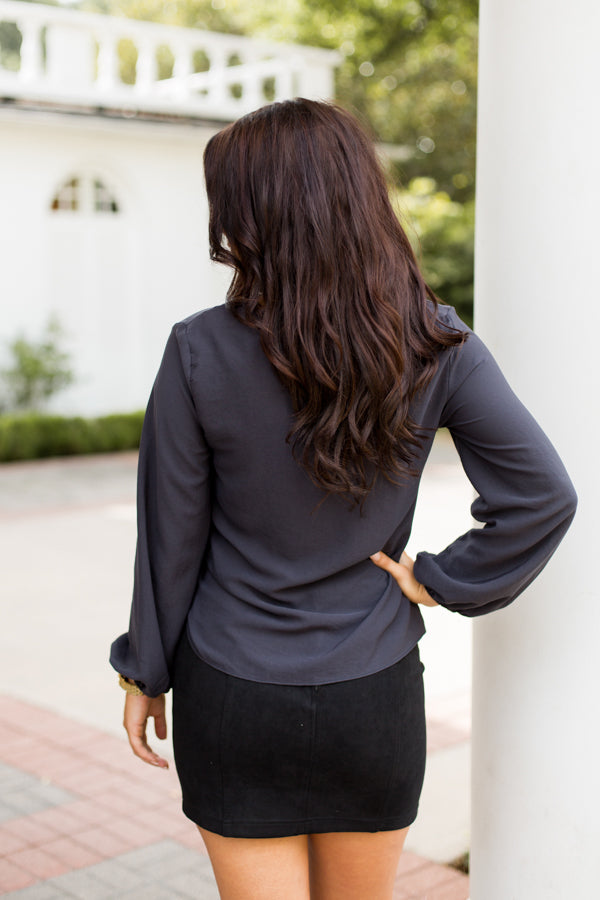 To The Side Tie Top- Dark Charcoal