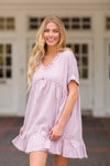 You Go Girl Babydoll Dress- Mauve