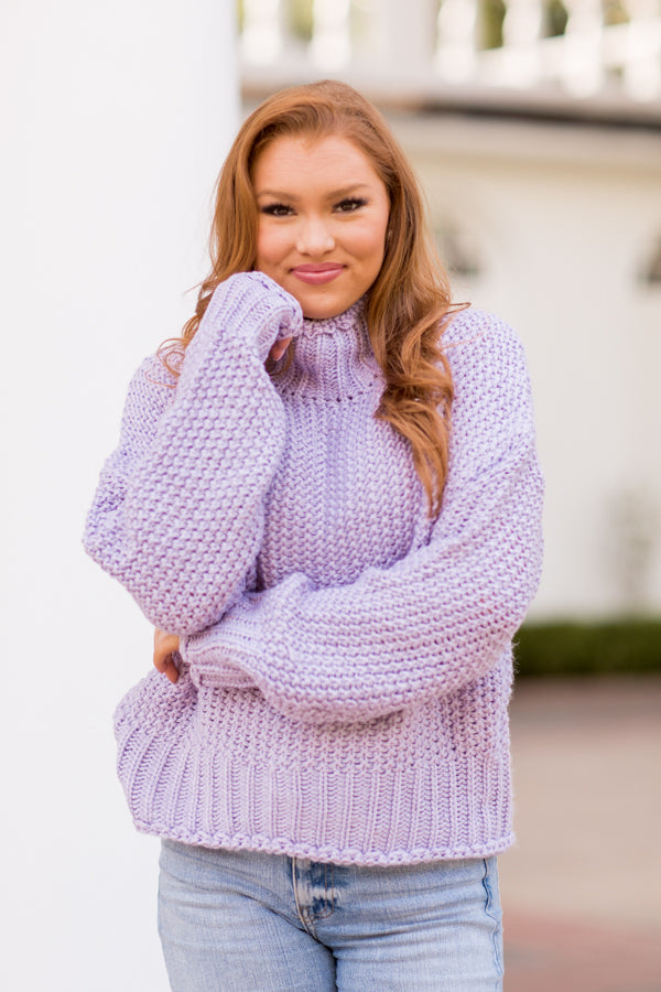Make Me Smile Sweater - Lilac