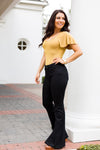 High Rise Bell Bottom Jeans- Black