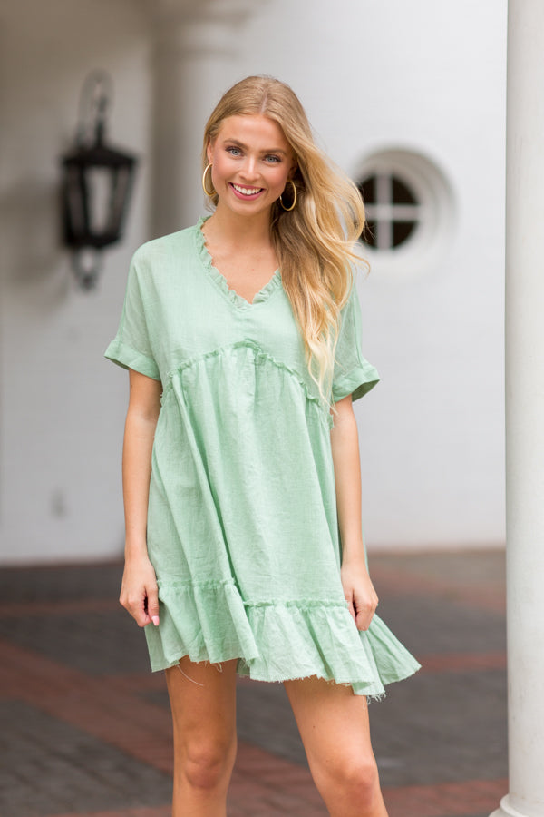 You Go Girl Babydoll Dress- Light Sage