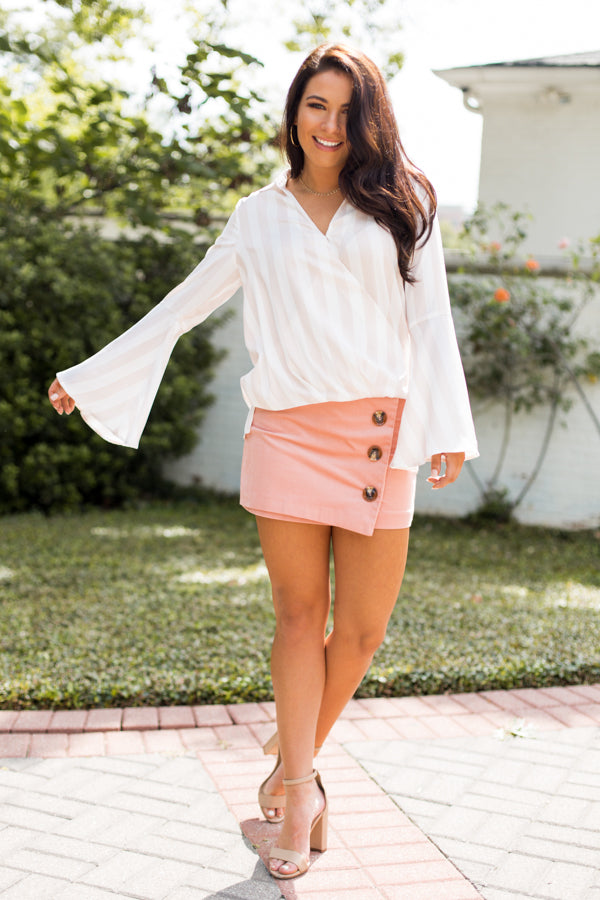 Corduroy Button Wrap Skirt- Dusty Pink