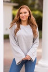 Z Supply Flare Sleeve Crop Pullover - Heather Grey