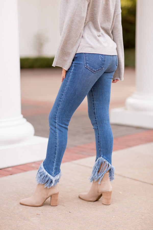 Dream On Fringe Skinny Jeans - Medium Wash