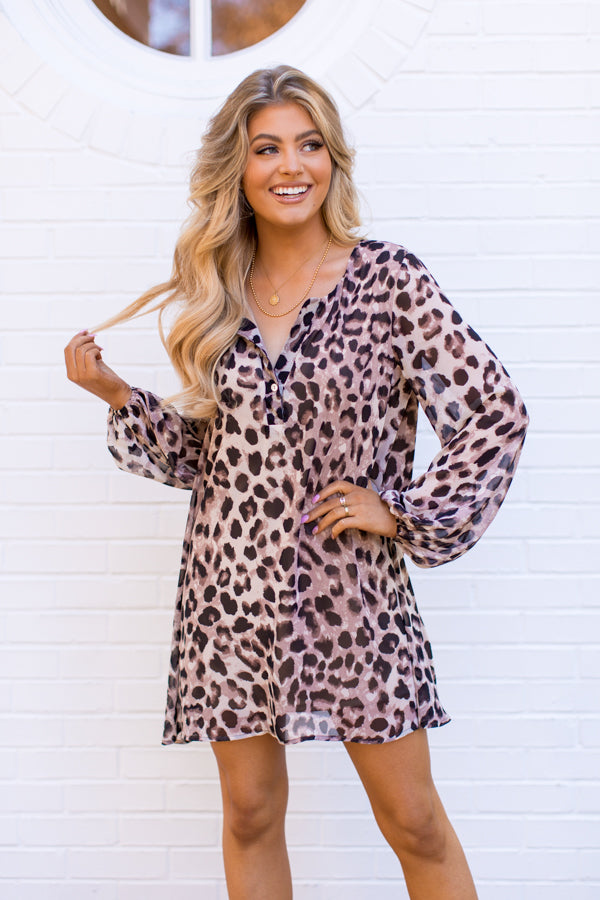Sheer Adrenaline Dress - Taupe Leopard