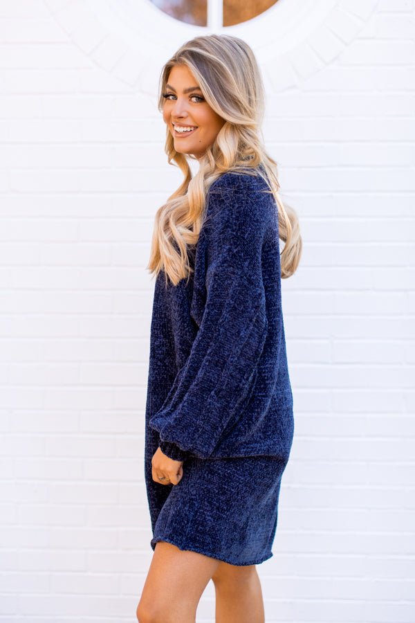 Never Too Cozy Chenille Sweater Dress - Navy
