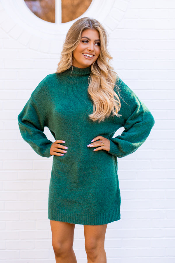 Merry & Bright Sweater Dress - Green