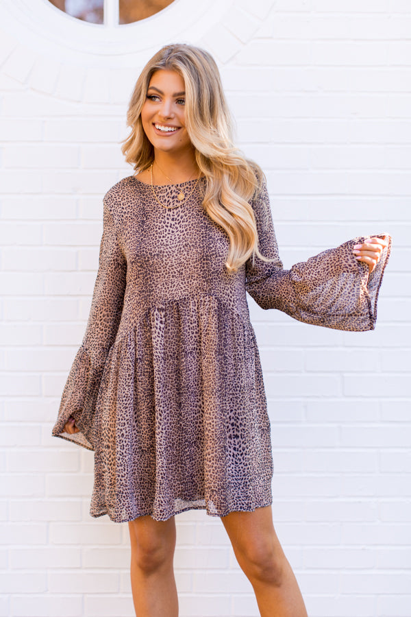 Fiercely Flattering Dress - Latte Leopard