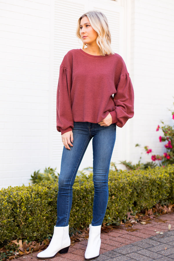 Raw Cut Sweatshirt- Burgundy