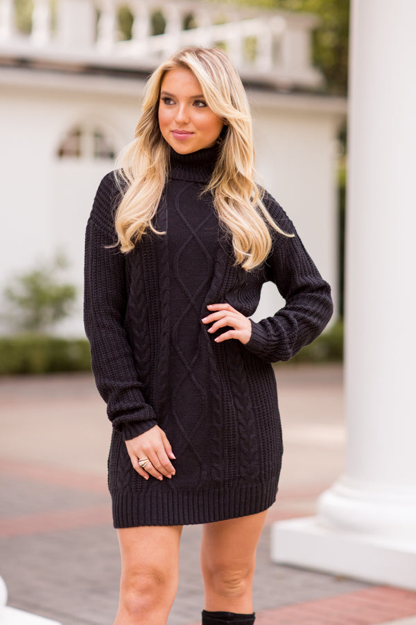 Find Me By The Fireplace Sweater Dress - Black