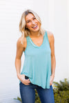 Z Supply V Neck Tank- Dusted Jade