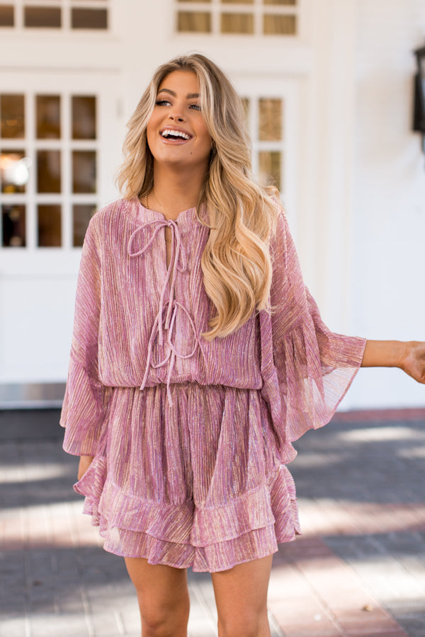 Champagne Toast Romper - Rose Pink