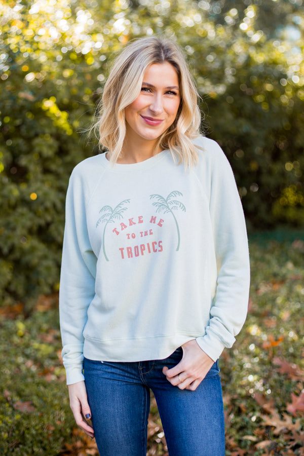 Amuse Society Take Me To The Tropics Pullover- Tea Green