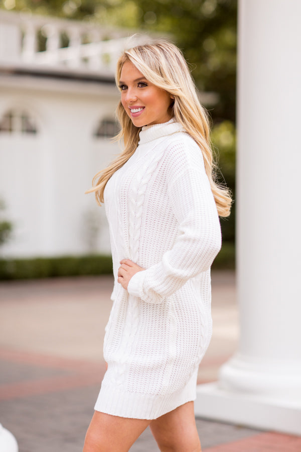 Find Me By The Fireplace Sweater Dress - Ivory