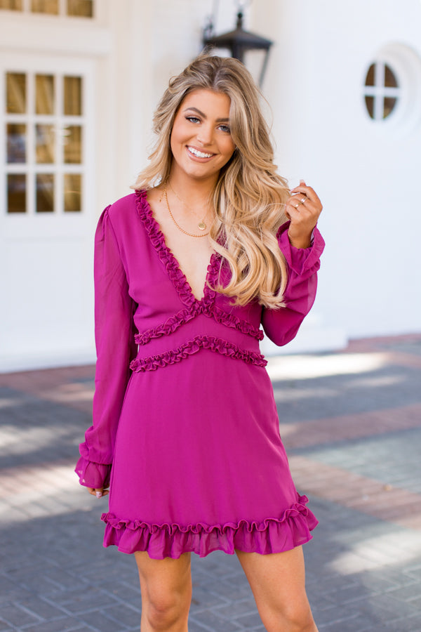 For The Frill Of It Dress - Magenta