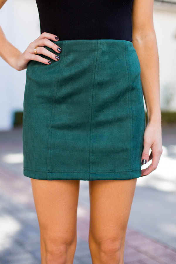 Simply Suede Skirt- Dark Green